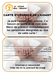 carte identité en urgence La carte d'urgence de l'Aidant   La Maison des Aidants